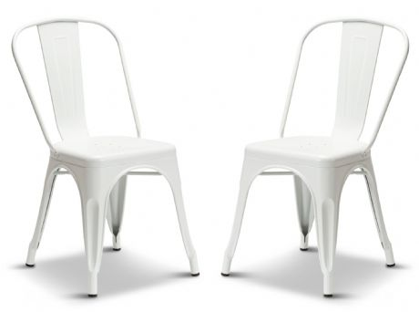 Pair of 2 Matt White Metal Industrial Tolix Style Dining Chairs 1/2 Price Deal